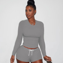 Ladies Autumn Casual Fashion Trend Sports Round Neck Pullover Solid Color Pleated Long-Sleeved Tie Shorts Two-Piece Suit CX2008248690