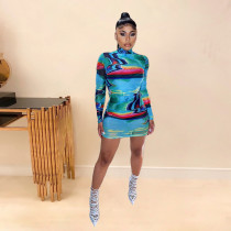 Ladies Autumn Casual Fashion Trend Temperament All-Match Sexy High Collar Tie-Dye Graffiti Printed Long-Sleeved dress CX2008257210
