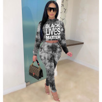 Ladies Summer Casual Fashion Trend Temperament All-match Sexy Hooded Bandage Tie-dye Letter Printed Long Sleeve Trousers Two-piece CX2008310315