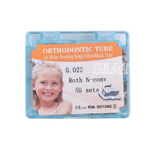 50sets Dental Orthdentic 1st/2nd Molar Roth/MBT 022 Buccal Tubes Non-convertable Monoblock Bonding Bondable