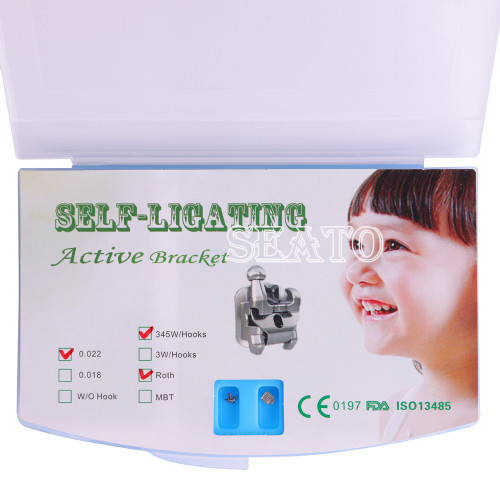 Dental Orthodontic Active/Passive Self-Ligating Brackets Roth/MBT022 Hook3/Hook345 with Tool