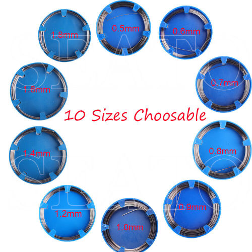 50g/Roll Orthodontic Stainless Steel Wire Dentist Dental Mixed Sizes Round Ovoid Natural 0.5mm-1.8mm