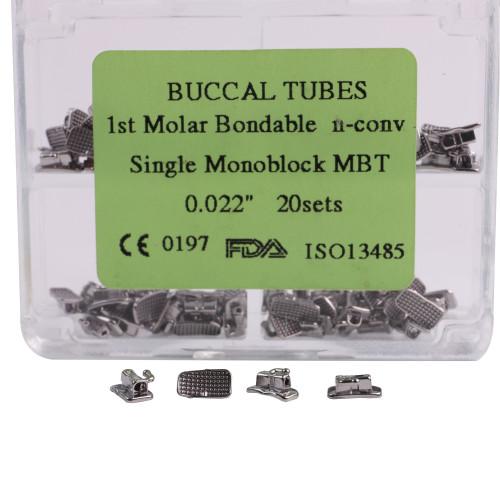 50set Dental Orthodontic 1st/2nd Molar Buccal Tubes MBT/Roth 022 Monoblock Bondable Non-convertable