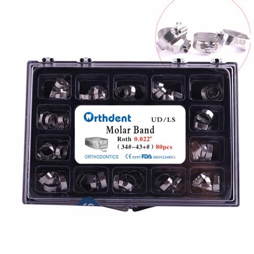 Dental Orthodontic 1st Molar Bands with Buccal Tubes  MBT/ Roth 022  U2L1&U1L1 34#-43+#