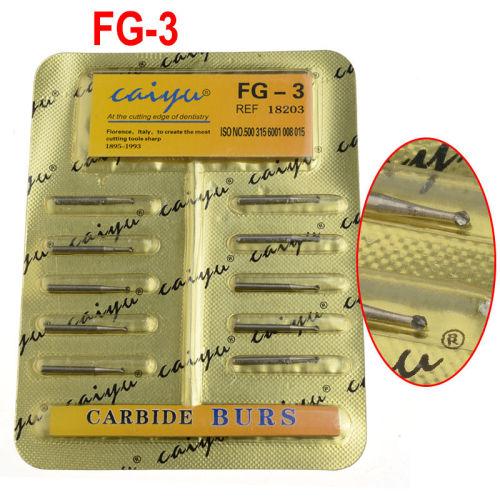100pcs/10Pack Caiyu Dental Tungsten Steel Carbide Burs For High Speed Handpiece 10 Size Choosable