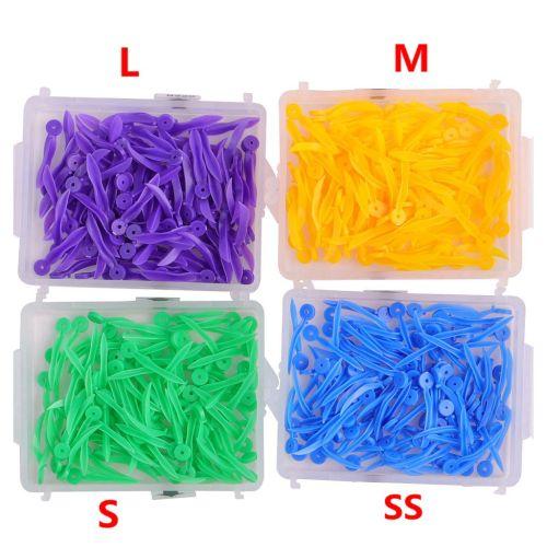 400pcs Dental Plastic Poly-Wedges with Holes 4 Colors 4 Sizes/Set