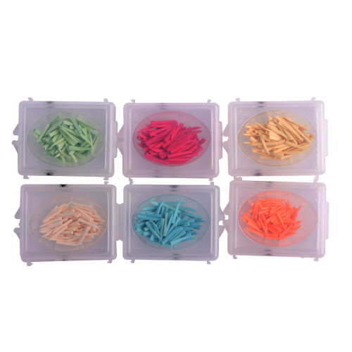 100Pcs Dental Colored Wooden Wedges Fixing Restoration Interdental Composite 6 Sizes for Choose