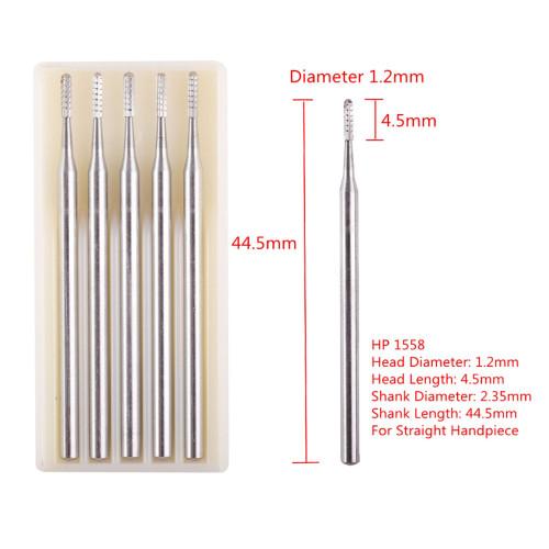 5PCS/Box Dental Trimming Straight Handpiece Carbide Burs HP557/558/701L/1156/1157/1557/1558