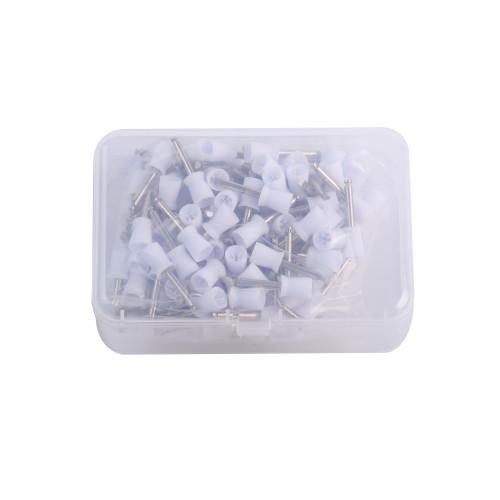 100Pcs/Box Dental Prophy Polishing Cups Tooth Polish Brush Latch Type Rubber White 6.3x2.33mm