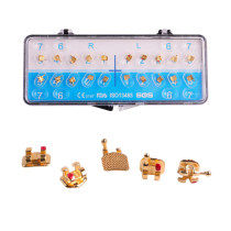 20Pcs Dental Orthodontic Metal Brackets Braces Gold Coated Mini Roth/MBT 022 Hooks 3 4 5