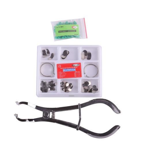 Dental Saddle Contoured Metal Matrix + Metal Matrices Plier +Add-on Wedges 330/398