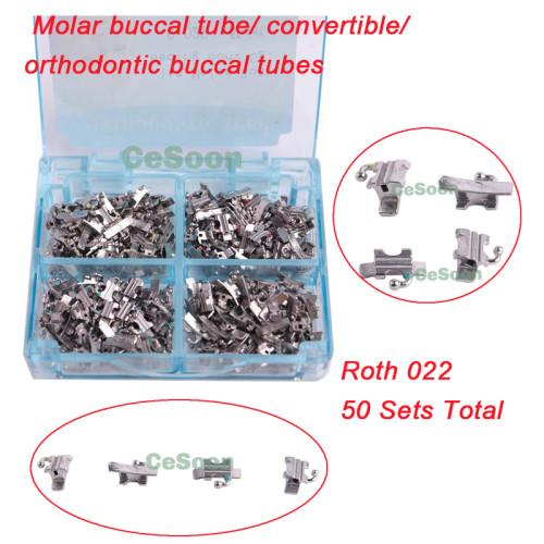 50Sets Dental Orthodontic Buccal Tubes Convertible Welding Monoblock Molar 1st Roth 0.022