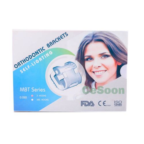 20Pcs Dental Self-Ligating Metal Bracket Braces Orthodontic Mini MBT/Roth Slot 0.022 Hook 3