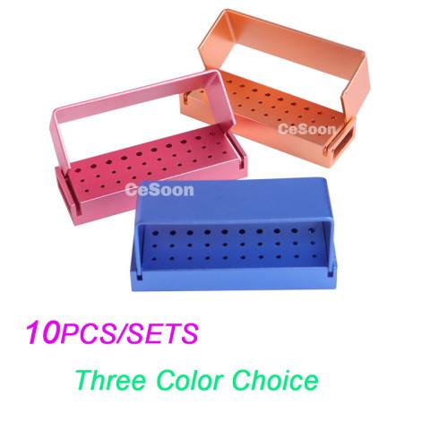 10PCS 30 Holes Dental Diamond Burs Drill Disinfection Block High Speed Handpiece Holder FG Burr