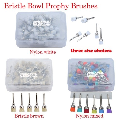 100 pcs dental Bristle/Nylon Bowl prophy brush polishing latch type Bristle brown Nylon white/mixed dental tools
