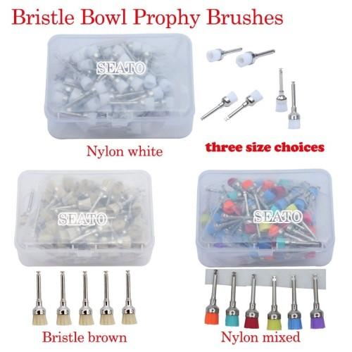 100 pcs dental Bristle/Nylon Bowl prophy brush polishing latch type Bristle brown Nylon white/mixed dental tools
