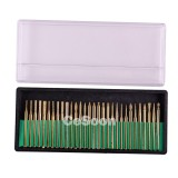 30Pcs/Kits Dental Diamond Bur Bits Drill Gold Plated Titanium Coated Glass Gemstone Metal Shank 3mm