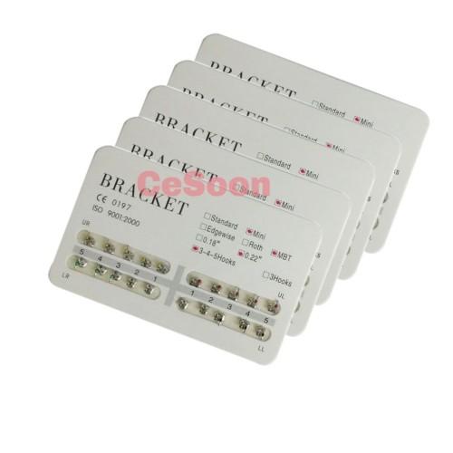 20Sets Dental Orthodontic Brackets Braces Metal Mini MBT 0.022 Slot Hooks 3-4-5 For Dental Treatment
