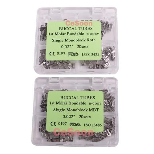 80Pcs Dental Orthodontic Buccal Tubes Non-convertible Bonding Monoblock 1st/2nd Molar Roth 022 MBT