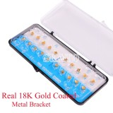 Dental 18K Gold Coated Orthodontic Metal Bracket Mini Roth 022 3-4-5 20pcs/set