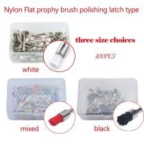 100 pcs dental Nylon Flat prophy brush polishing latch type black/white/mixed colors dental brush