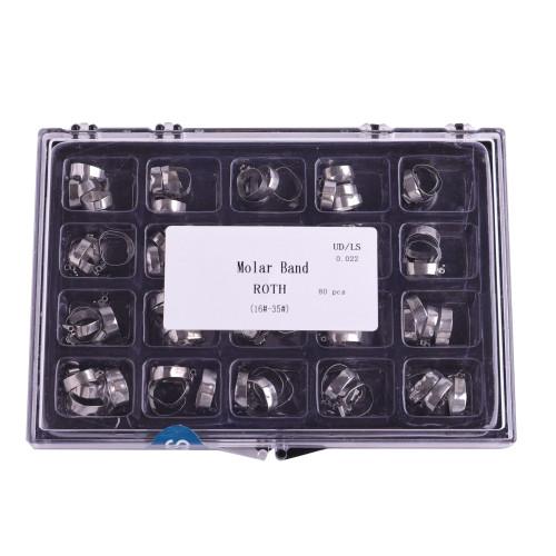 80 piezas de ortodoncia Dental 1st Molar Roth 022 bandas de tubo bucal pre soldadas 34 # -43 + #