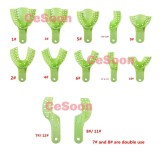12Pcs/Pack Dental Impression Trays Perforated Autoclavable Teeth Bite Green  Plastic 10 Sizes