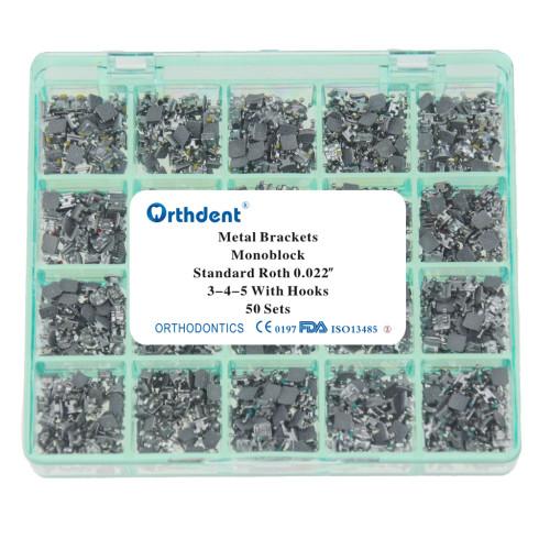 50set/box Dental Orthodontic Bracket Metal Braces Dental Monoblock Standard Roth 022 345 hooks Sandblasting monoblock Base