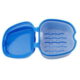 2PCS Denture Case,Denture Cup with Strainer,Denture Bath Box False Teeth Storage Case Box with Strainer for Travel Cleaning(Blue and Light Blue).