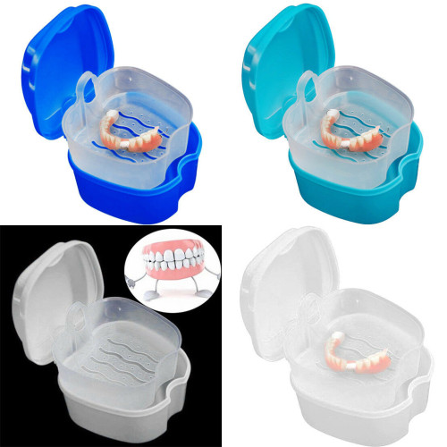 Denture Case, Denture Cup with Strainer,Denture Bath Box False Teeth Storage Case Box with Strainer for Travel Cleaning.