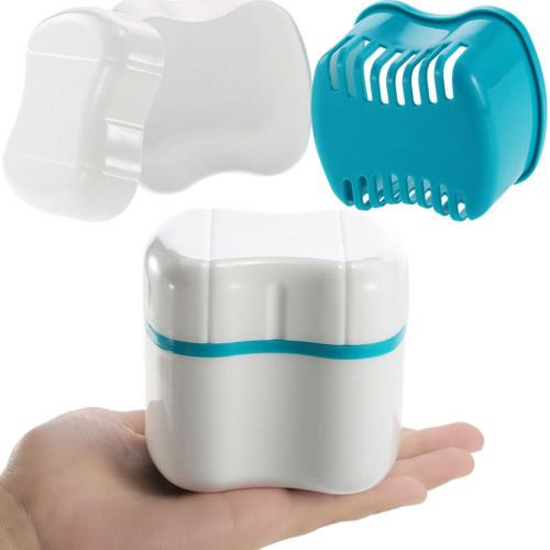 Denture Bath Case Denture Box with Strainer Basket Container Dental Tooth Storage Bath Case Teeth Rinsing Basket