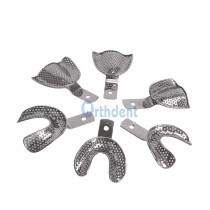 6Pcs/ Set Dental Autoclavable Metal Impression Tray Perforated Stainless Upper/Lower