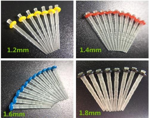 25Pcs Dental Quartz Fiber Post Root Canal Pins Resin Screw Post 1.2 1.4 1.6 1.8mm