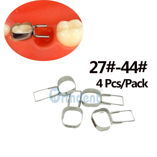 4Pcs/Pack Dental Orthodontic Braces Preformed Space Maintainer Molar Bands Loops 2nd Molar 27#-44#