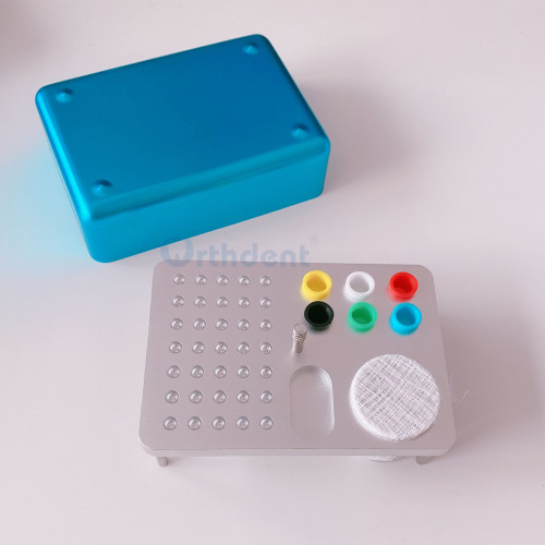 Dental Aluminium Bur Holder Autoclave Disinfection Box blue Color 35 Holes Tools