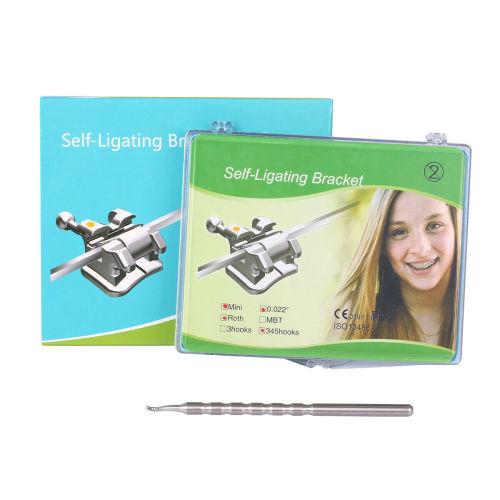 28Pcs Dental Orthodontic Brace Brackets Self-Ligating Active Mini Roth 022 Hooks 3-4-5