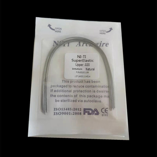 100Pcs/10 Packs Dental Orthodontic Niti Arch Wire Super Elastic Round Natural 012 - 020 Upper/Lower