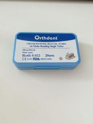 80Pcs Dental Orthodontic Buccal Tubes Non-convertible Bonding Monoblock 1st Molar Roth 022