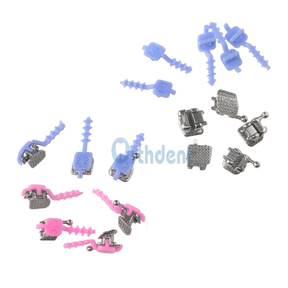 20 Pcs/Pack Dental Metal Self-ligating Brackets Brace with Individual Positioning Mark Mini Roth 022 Hooks 3-4-5