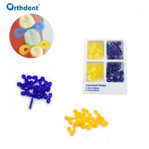 60Pcs/Box Dental Interdental Wedge Elastic Rubber Fixing Wedges Matrix Sectional Contoured Matrices Dentistry Tool
