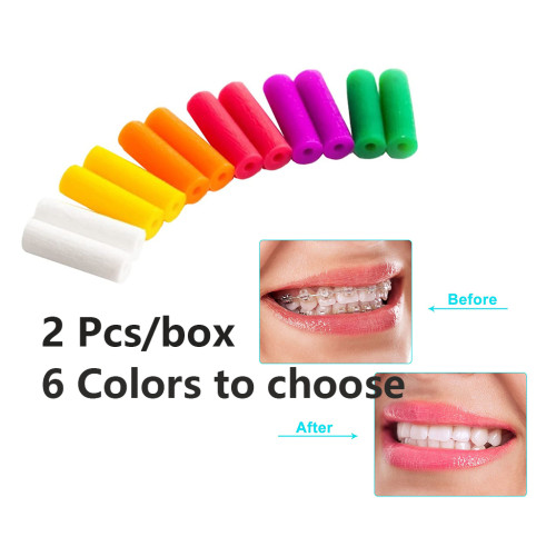 2 Pcs/Box Dental Aligner Chewies Chompers Orthodontic Braces Oral Hygiene for Aligner Trays with Handheld Stick