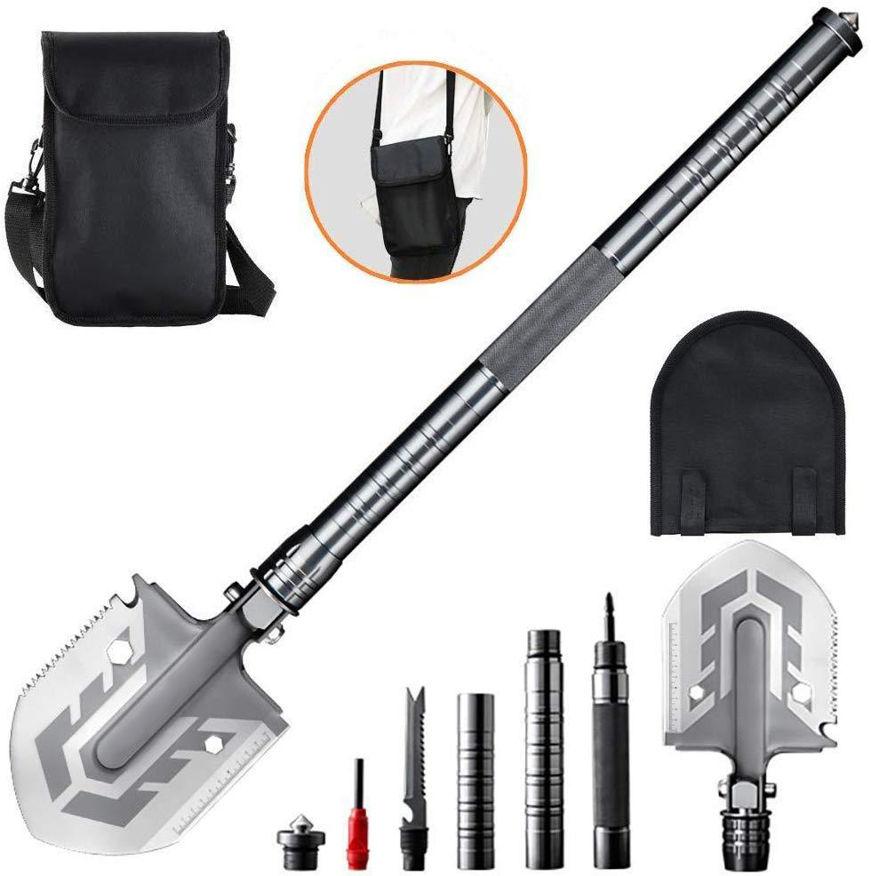 Folding Survival Camping Shovel /& Storage Pouch//Case Military Style NEW