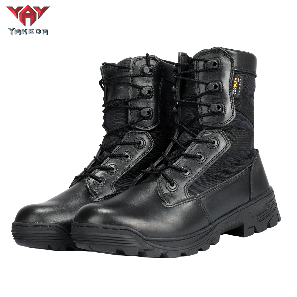 Yakeda Men's Genuine Leather shoes Wear-resistant Climbing Trekking Outdoor Hiking Boots Tactical