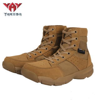 Yakeda 2021 Tactical Military usa Black Boots Casual Lace Leather Hiking Shoes Genuine Leather Army Boots for Men