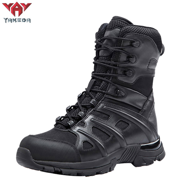 Yakeda Outdoor Hiking Booots Side Zipper shoes Combat Military Leather army tactical Boots for Women men