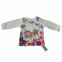 CUDDLESOME Baby Girls Long Sleeve Top with Gold Printing and Beads