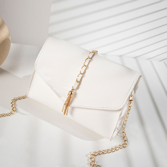 Ladies PU Bags with Gold Metal Chain Belt