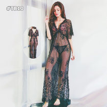 Ladies Sexy Transparent Lace Long Sheer Lingerie Babydoll Gown
