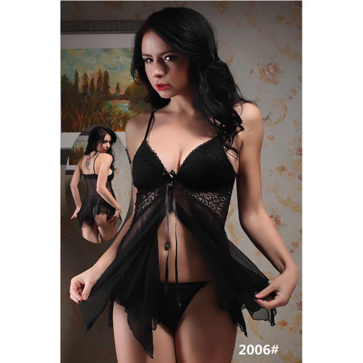 Ladies Polyamide Underwear Sexy Transparent Babydoll Lingerie Suits