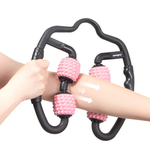 1 Pcs Leg Relaxation Roller Four Wheel 360 Degree Fitness Equipment Ring Massager Clamp Roller Massage Stick Muscle Relax for Home